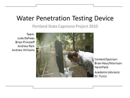 Water Penetration Testing Device