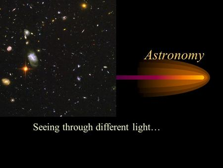 Astronomy Seeing through different light…. VisibleUV..