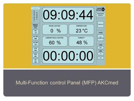 Multi-Function control Panel (MFP) AKCmed. service menu parameters setting Control panel MENU selection ( click on the selected MENU option) main menu.