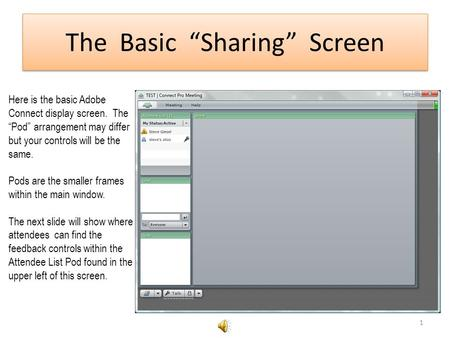The Basic Sharing Screen Here is the basic Adobe Connect display screen. The Pod arrangement may differ but your controls will be the same. Pods are the.