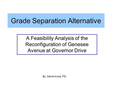 Grade Separation Alternative