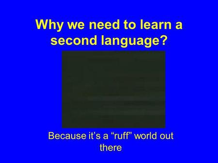 Why we need to learn a second language? Because its a ruff world out there.