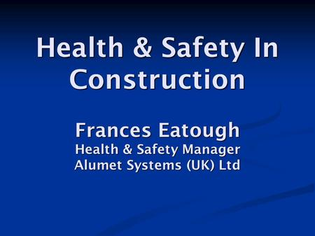 Introduction The Company The Construction Industry Site Safety Issues.