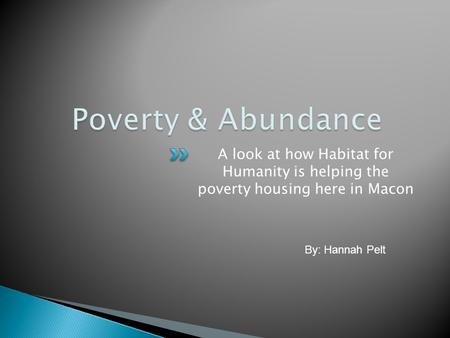 A look at how Habitat for Humanity is helping the poverty housing here in Macon By: Hannah Pelt.