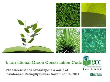 International Green Construction Code The Green Codes Landscape in a World of Standards & Rating Systems – November 15, 2011.