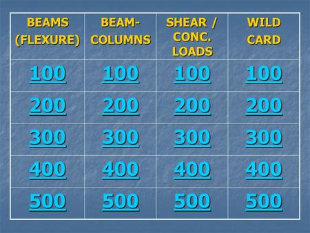 BEAMS (FLEXURE) BEAM- COLUMNS SHEAR / CONC. LOADS