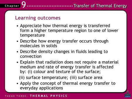 Learning outcomes Appreciate how thermal energy is transferred form a higher temperature region to one of lower temperature Describe how energy transfer.