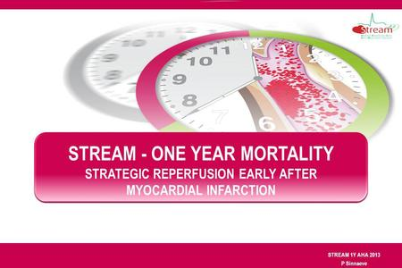 STREAM 1Y AHA 2013 P Sinnaeve STREAM - ONE YEAR MORTALITY STRATEGIC REPERFUSION EARLY AFTER MYOCARDIAL INFARCTION.