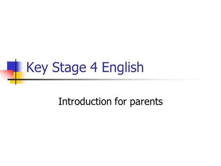 Introduction for parents