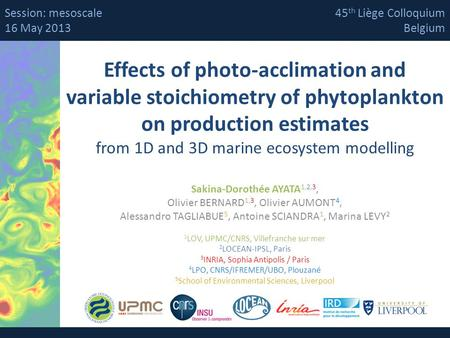 Session: mesoscale 16 May 2013 45th Liège Colloquium Belgium