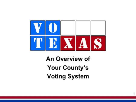 1 An Overview of Your Countys Voting System. 2 Welcome to the eSlate!