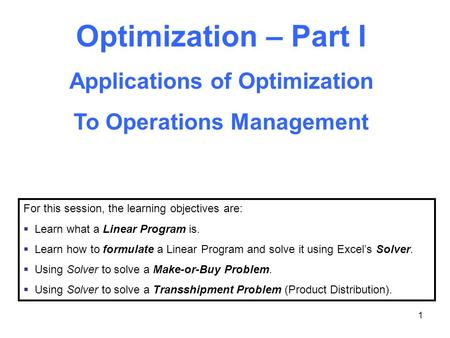 Applications of Optimization To Operations Management