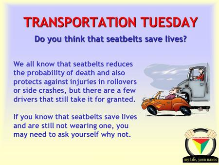 Transportation Tuesday TRANSPORTATION TUESDAY Do you think that seatbelts save lives? We all know that seatbelts reduces the probability of death and also.