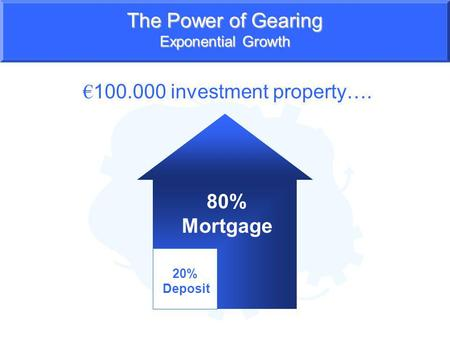 The Power of Gearing Exponential Growth 100.000 investment property…. 20% Deposit 80% Mortgage.