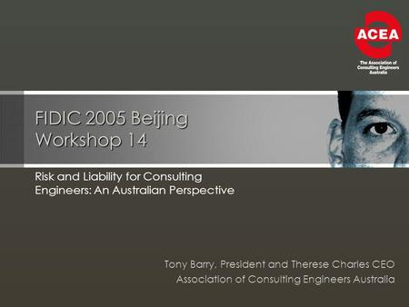 FIDIC 2005 Beijing Workshop 14 Risk and Liability for Consulting Engineers: An Australian Perspective Tony Barry, President and Therese Charles CEO Association.