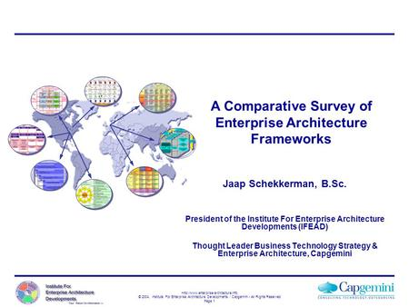 A Comparative Survey of Enterprise Architecture Frameworks