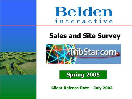 Sales and Site Survey Spring 2005 Client Release Date – July 2005.