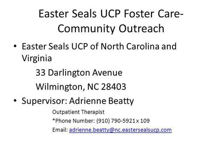 Easter Seals UCP Foster Care-Community Outreach