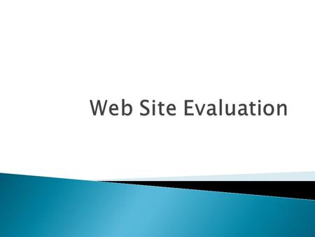 Web Site Evaluation.