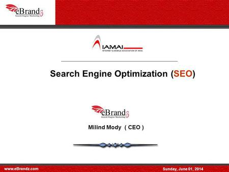 Www.eBrandz.com Sunday, June 01, 2014 Search Engine Optimization (SEO) Milind Mody ( CEO )