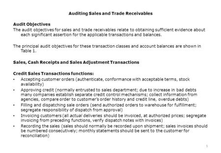 1 Auditing Sales and Trade Receivables 1 Audit Objectives The audit objectives for sales and trade receivables relate to obtaining sufficient evidence.