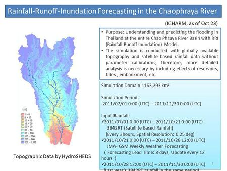 Rainfall-Runoff-Inundation Forecasting in the Chaophraya River (m) Simulation Domain : 163,293 km 2 Simulation Period 2011/07/01 0:00 (UTC) – 2011/11/30.