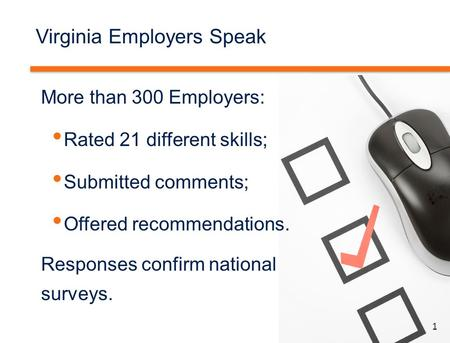 1 Virginia Employers Speak More than 300 Employers: Rated 21 different skills; Submitted comments; Offered recommendations. Responses confirm national.
