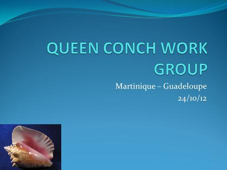 Martinique – Guadeloupe 24/10/12. Description of Queen Conch Industry MartiniqueGuadeloupe Gears used Fixed gillnet Diving (apnea) Trammel nets Fixed.