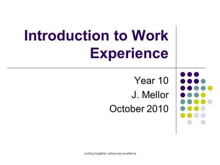 Introduction to Work Experience