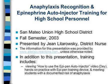 San Mateo Union High School District Fall Semester, 2003