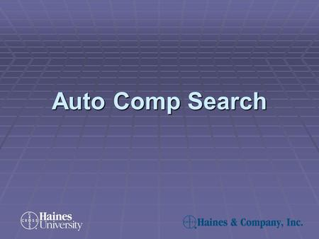 Auto Comp Search. The Auto Comp Search function allows you to perform quick comparable property searches of a subject property. You can find properties.