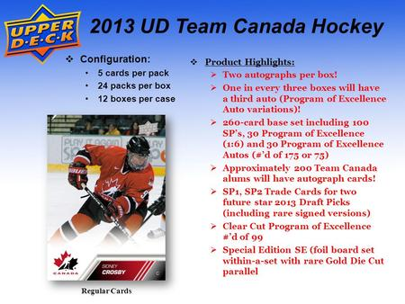 Regular Cards 2013 UD Team Canada Hockey Configuration: 5 cards per pack 24 packs per box 12 boxes per case Product Highlights: Two autographs per box!