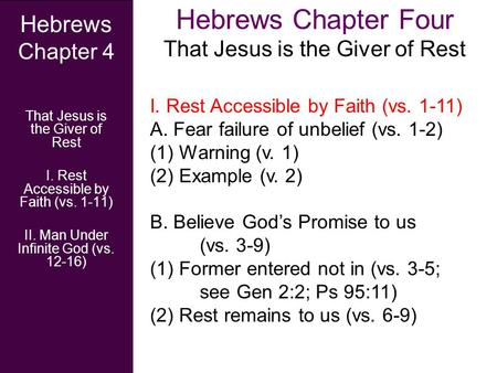 Hebrews Chapter Four That Jesus is the Giver of Rest Hebrews Chapter 4 That Jesus is the Giver of Rest I. Rest Accessible by Faith (vs. 1-11) II. Man Under.