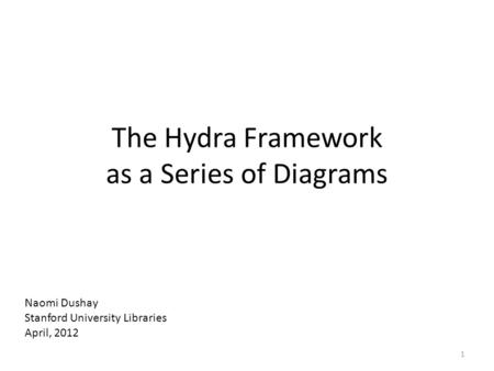 The Hydra Framework as a Series of Diagrams Naomi Dushay Stanford University Libraries April, 2012 1.