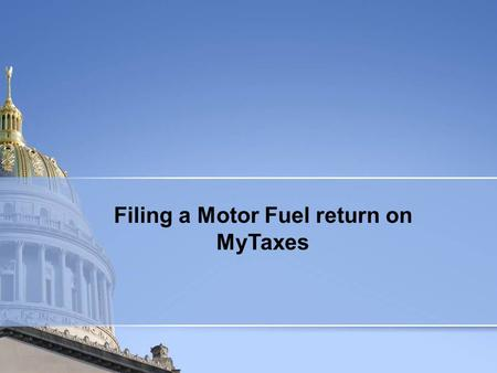 Filing a Motor Fuel return on MyTaxes. To view a previous return, Click View Return.