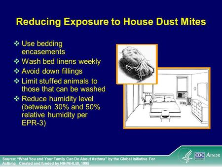 Reducing Exposure to House Dust Mites Use bedding encasements Wash bed linens weekly Avoid down fillings Limit stuffed animals to those that can be washed.