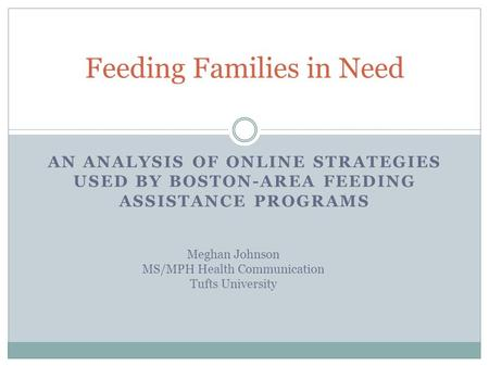 AN ANALYSIS OF ONLINE STRATEGIES USED BY BOSTON-AREA FEEDING ASSISTANCE PROGRAMS Feeding Families in Need Meghan Johnson MS/MPH Health Communication Tufts.