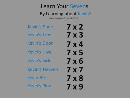 7 x 8 7 x 5 7 x 2 Learn Your Sevens By Learning about Kevin® 7 x 3 7 x 4 7 x 7 7 x 9 7 x 6 Kevins Pine Kevins Tree Kevins Door Kevins Hive Kevins Sick.