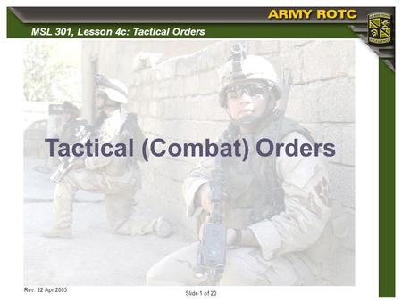 Tactical (Combat) Orders