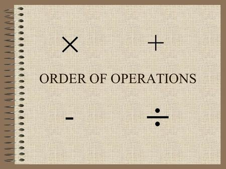 ORDER OF OPERATIONS + -. 1. Parentheses 2. Exponents 3. Multiplication or division (in order from left to right) 4. Addition or subtraction (in order.
