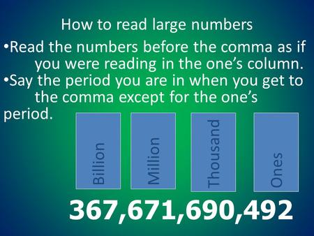 How to read large numbers
