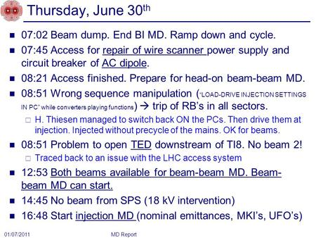 Thursday, June 30 th 07:02 Beam dump. End BI MD. Ramp down and cycle. 07:45 Access for repair of wire scanner power supply and circuit breaker of AC dipole.