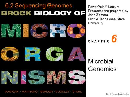 PowerPoint ® Lecture Presentations prepared by John Zamora <strong>Middle</strong> Tennessee State University C H A P T E R © 2015 Pearson Education, Inc. Microbial Genomics.