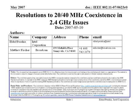 Doc.: IEEE 802.11-07/0623r0 Submission May 2007 Eldad Perahia, Intel CorporationSlide 1 Resolutions to 20/40 MHz Coexistence in 2.4 GHz Issues Notice: