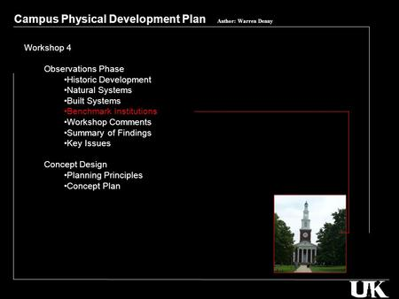 Campus Physical Development Plan Author Warren Denny Workshop 4 Observations Phase Historic Natural Systems