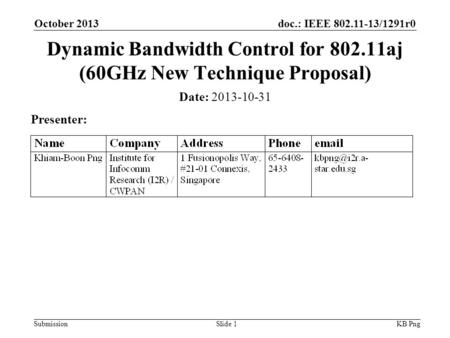 Doc.: IEEE 802.11-13/1291r0 SubmissionSlide 1 Date: 2013-10-31 Presenter: Dynamic Bandwidth Control for 802.11aj (60GHz New Technique Proposal) KB Png.