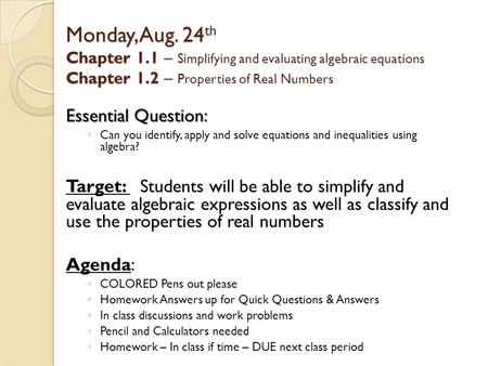Algebra 1 Review: 1 1 Expressions and Formulas Objectives: - ppt