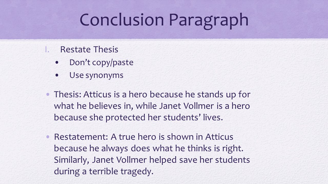 Conclusion Paragraph Restate Thesis - Ppt Download