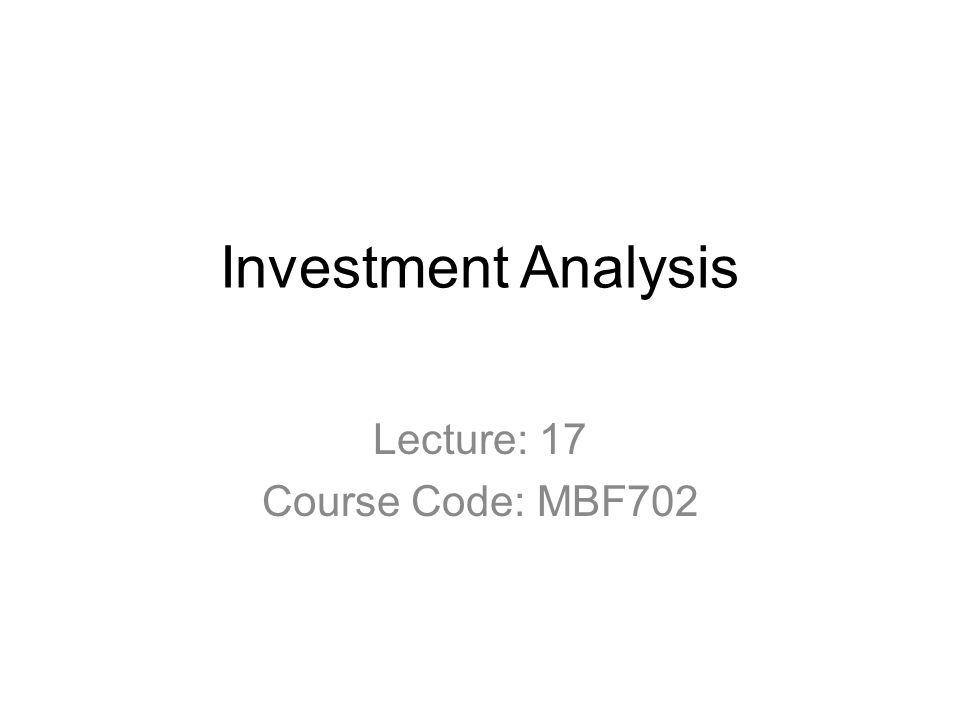 Investment analysis lecture 024 rotorua investments limited property