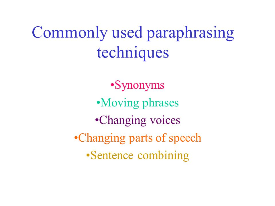 Commonly Used Paraphrasing Technique Ppt Download Examples Example Skill